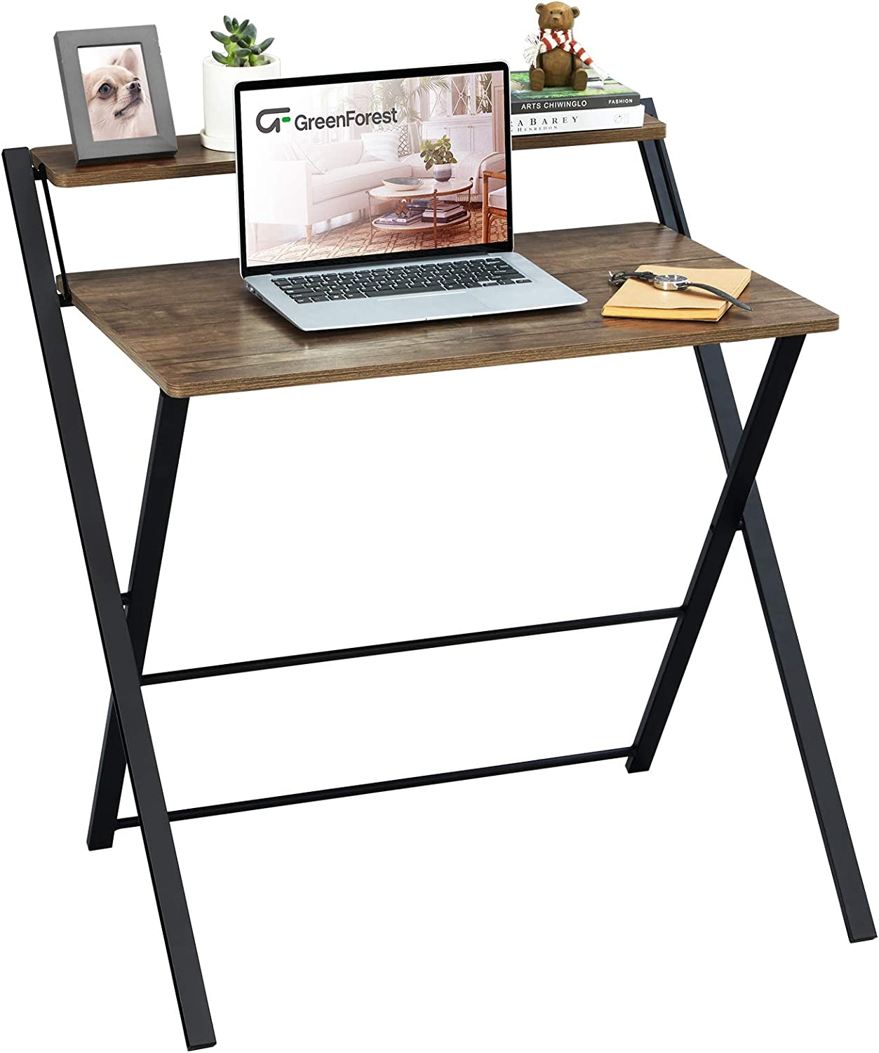 GreenForest Folding Computer Desk No Assembly Required 2 Tier Computer Desk with Shelf Space Saving Small Foldable Table Workstation, Brown