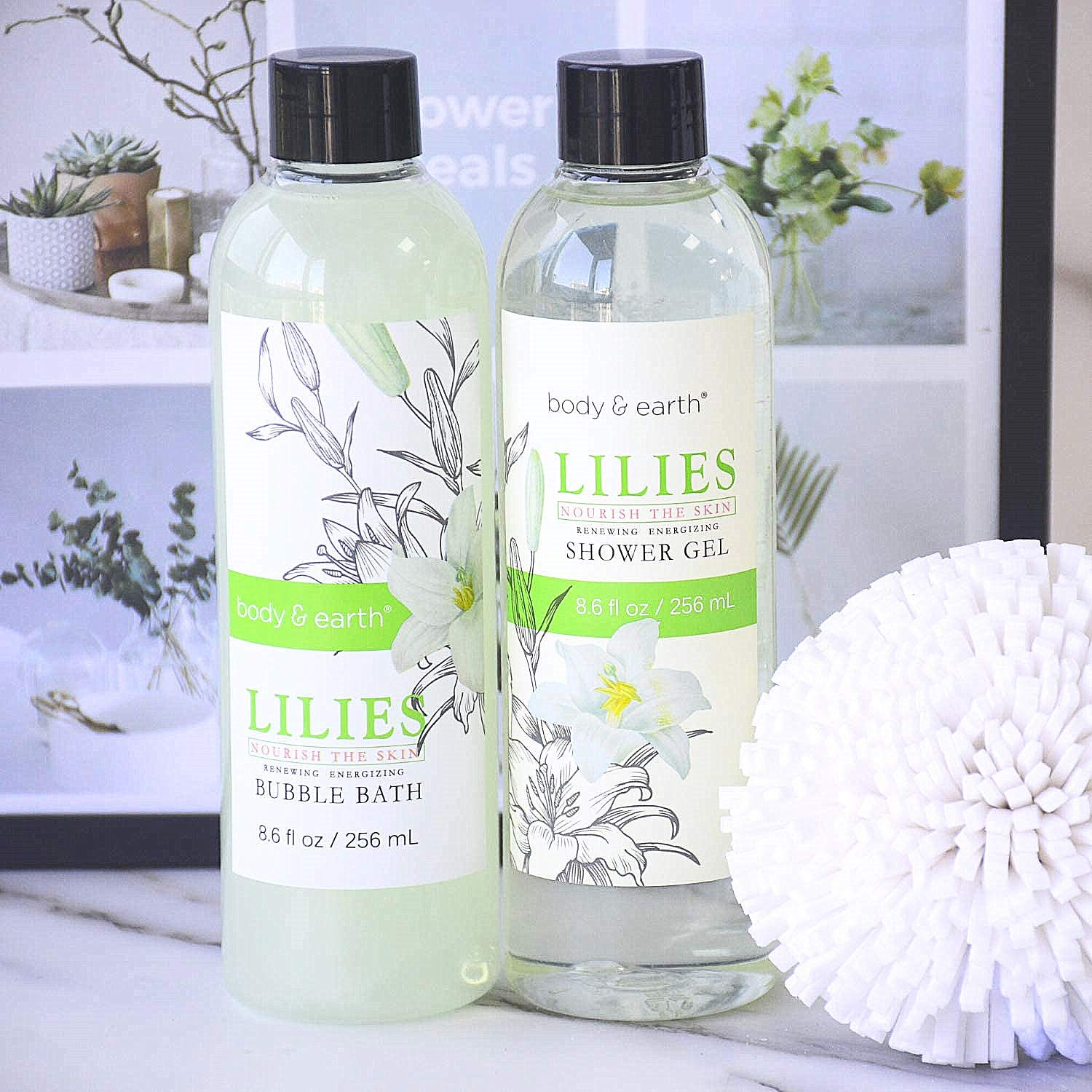 Gift Baskets for Women, Body & Earth Spa Gifts for Her, Lily 10pc Set, Best Gift Idea for Women : Beauty
