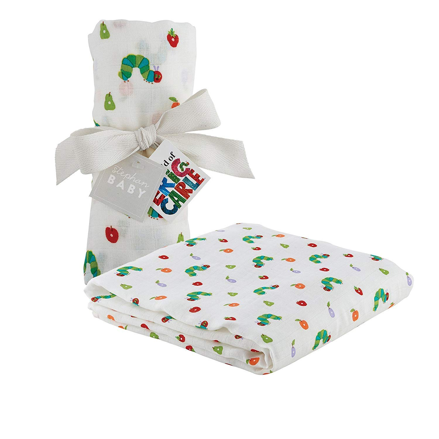 Stephan Baby Eric Carle The Very Hungry Caterpillar Viscose Cotton Muslin Swaddle Blanket