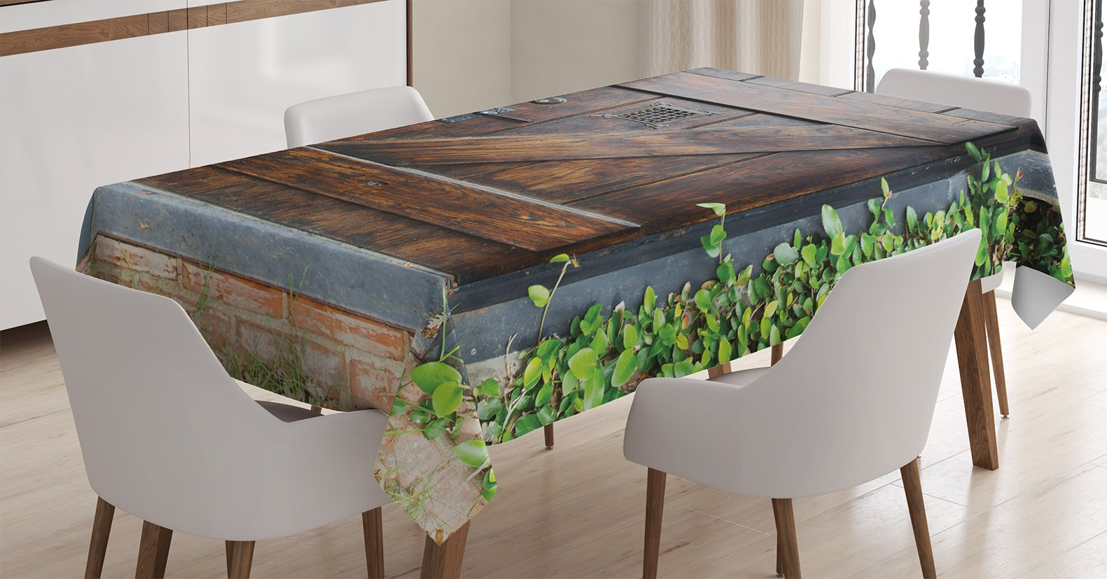 Ambesonne Rustic Decor Tablecloth, Small Spanish Style Dark Stained Wood Door Secret Garden with Grated Window Art Picture, Dining Room Kitchen Rectangular Table Cover, 60 X 84 inches