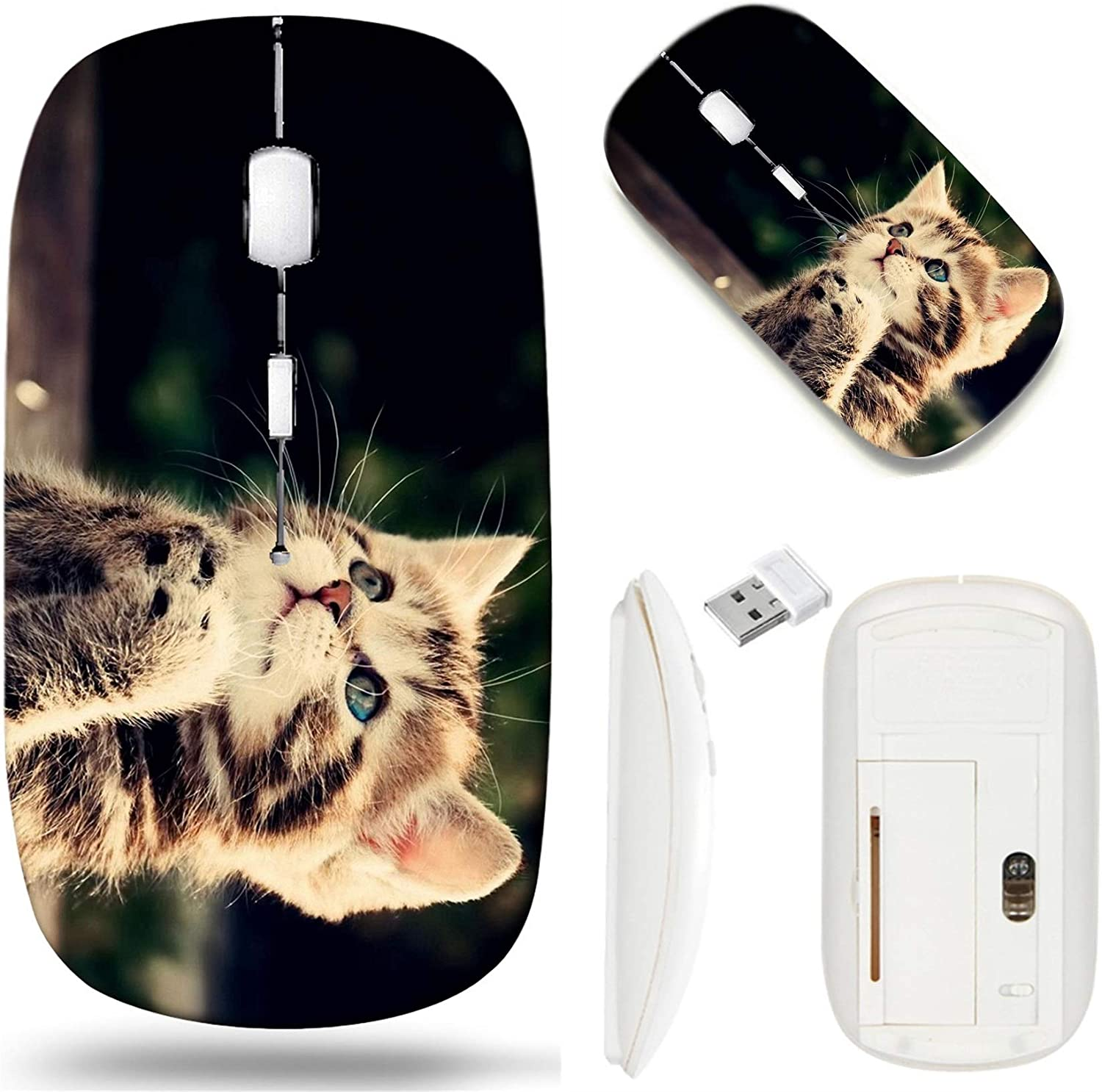 Wireless Mouse 2.4G White Base Travel Wireless Mice with USB Receiver, Noiseless and Silent Click with 1000 DPI for Notebook pc Laptop Computer MacBook Image of cat Animal pet Fur Kitten Kitty Cute e
