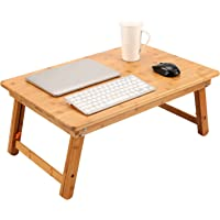 Large Size Laptop Tray Desk Newvante Foldable Bed Table Tray, Coffee/TV Desk 100% Bamboo Breakfast Serving Tray Gaming Writing Support up to 18in Laptop, 66x45cm(26x17.7in)