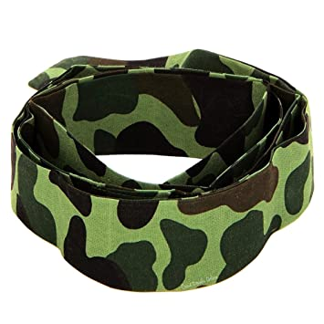 DogTags Camo RAMBO HEADBAND, Bullet Belt COMPLETE ARMY FANCY DRESS PARTY SET