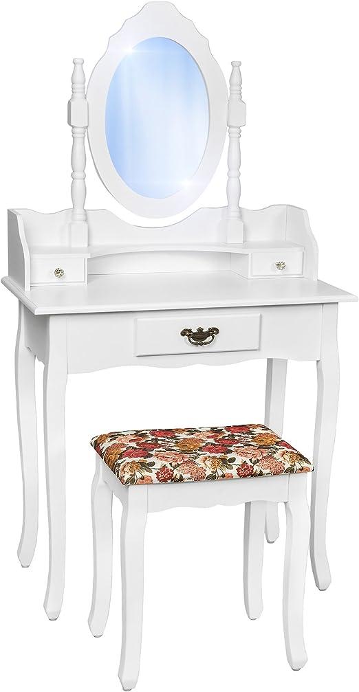 TecTake Tocador con espejo incluye taburete con silla mesa de ...