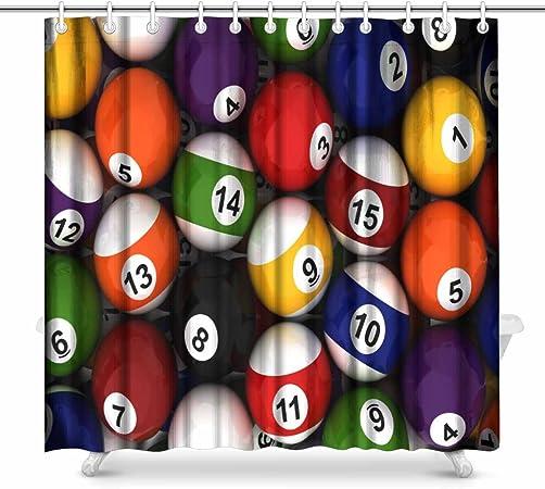 interestprint bolas de billar juego de decoración de baño cortina ...