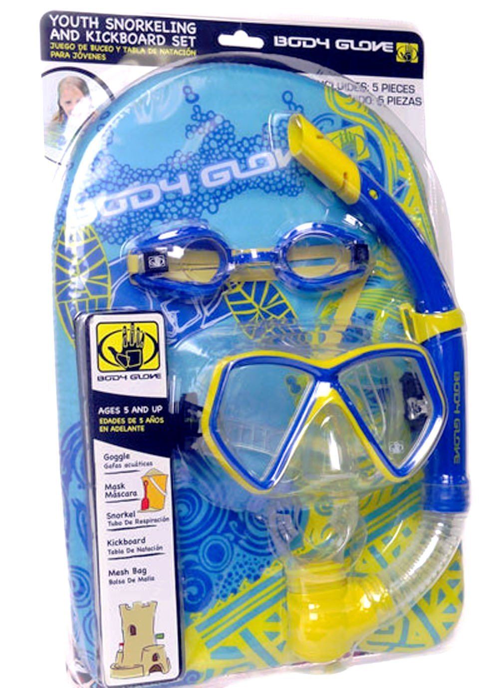 Amazon.com : Body Glove Youth Snorkeling, Mask and KickBoard (5 Pieces Set) (Blue) : Snorkeling Diving Packages : Sports & Outdoors