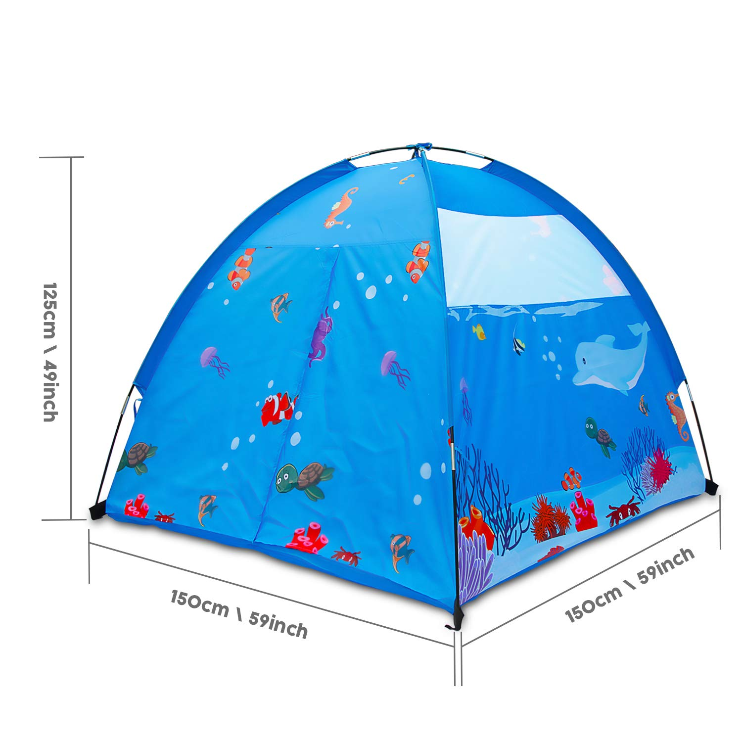 ALPIKA Play Tent Kids Mermaid Toys Children Indoor Outdoor Playhouse for Kids Happy Play Blue
