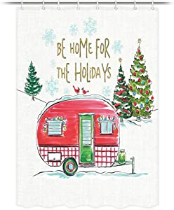 JAWO Christmas RV Shower Curtain, Christmas Tree and Retro Vacation Motorhome Trailer Shower Curtain for Camper Trailer Camping Bathroom, Stall Shower Curtain with Hooks Set 47x64inch