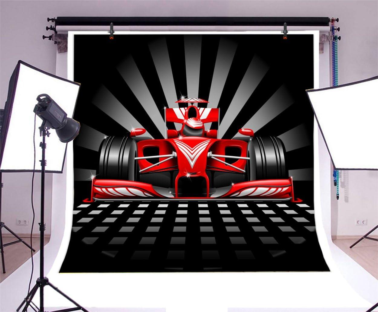 Leyiyi Fotohintergrund 2 4 X 2 4 M Roter Rennauto Hintergrund Happy Birthday Karierte Flagge Geschwindigkeitsrennen Begeisterung Streifen Mechanische Motorwagen Party Express Cowboy Foto Portrait Vinyl Studio Requisite
