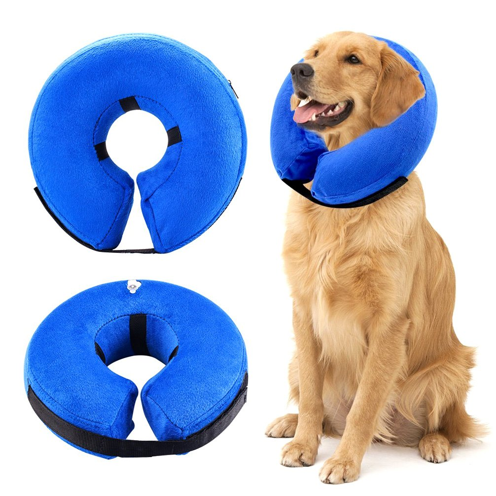 ZUNEA Protective Inflatable Collar for Dogs and Cats, Adjustable Soft Comfortable Pet Recovery E-Collar Surgery Wound Healing Cone Prevent Dogs Touching and Cats Biting - XL