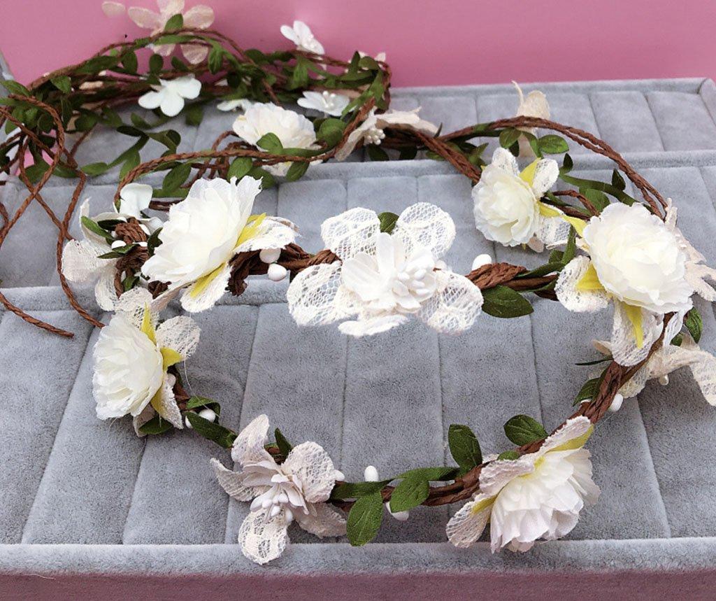 Wreath Flower, Headband Flower Garland Handmade Wedding Bride Party Ribbon Headband Wristband Hairband Bule (Color : C)