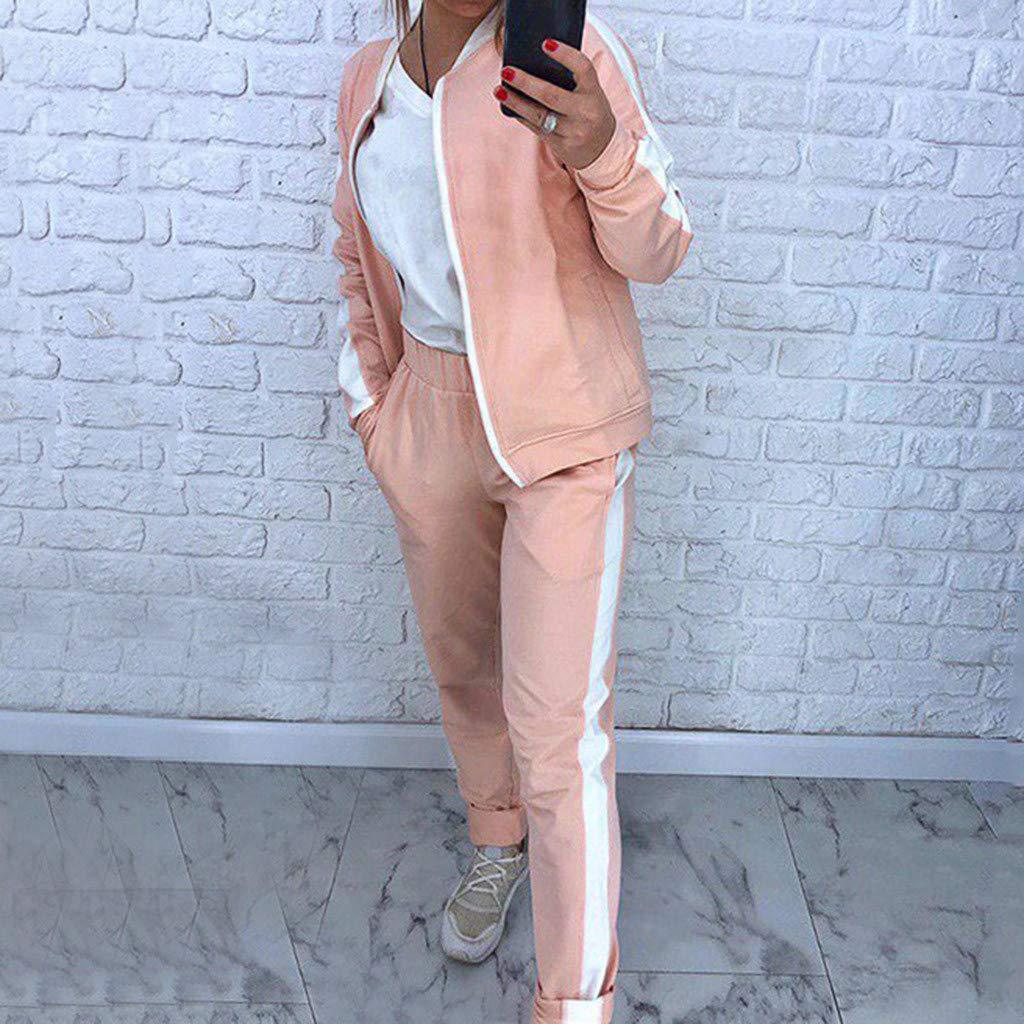 Women Tracksuit Set Solid Side Stripe Sweatsuits Long Sleeve Zipper Sweatshirt Coat and Sweatpants Sets Outfits Sportswear for Fall Winter