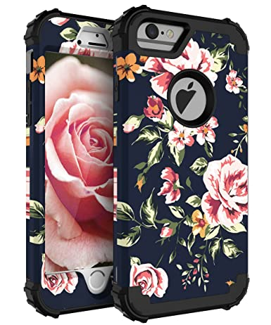 iphone 6 plus case black flowers