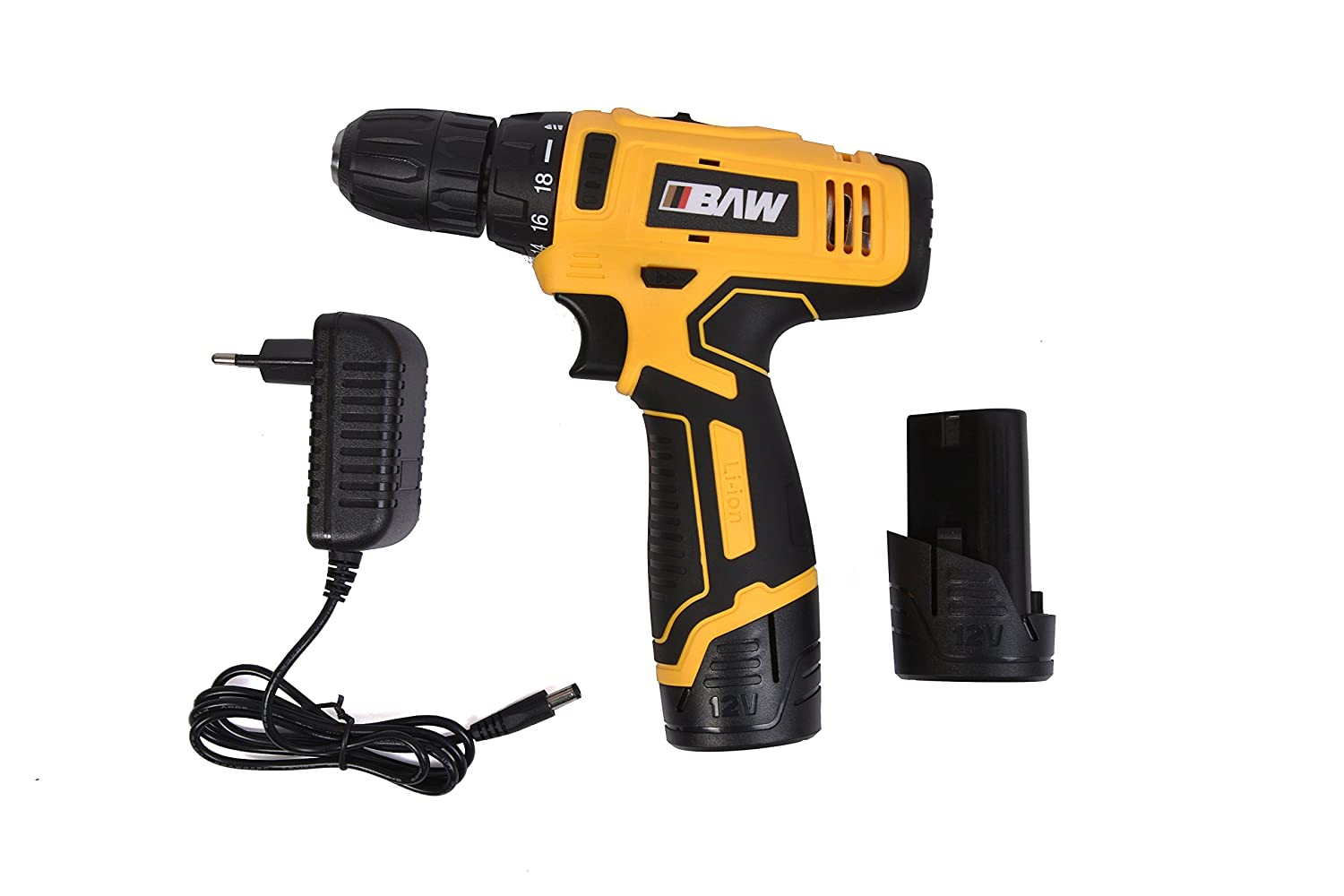 BAW Cordless screwdriver-10 MM with 2 Nos. Batteries-12 V- 2 Mode Speed  Reversible: Amazon.in: Industrial & Scientific