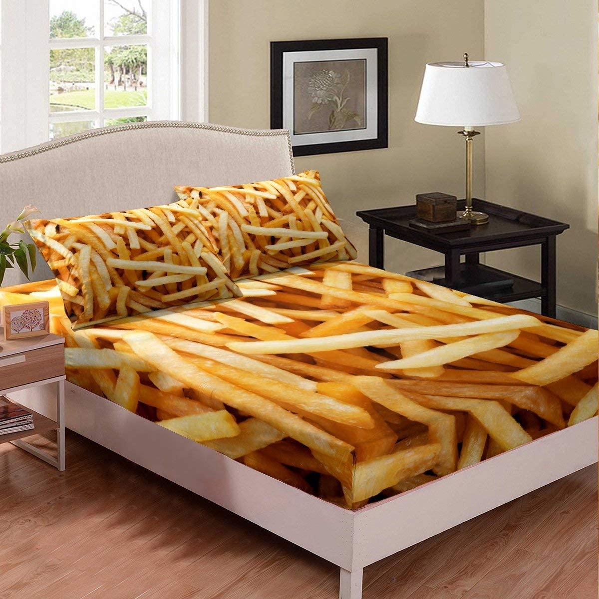 Erosebridal Nursery French Fries Sheet Set Fried Food Fitted Sheet for Junk Food Lovers Golden Potato Chips Bedding Set Fast Food Print Bed Cover with 1 Pillow Case TwinXL Bedroom Decoration