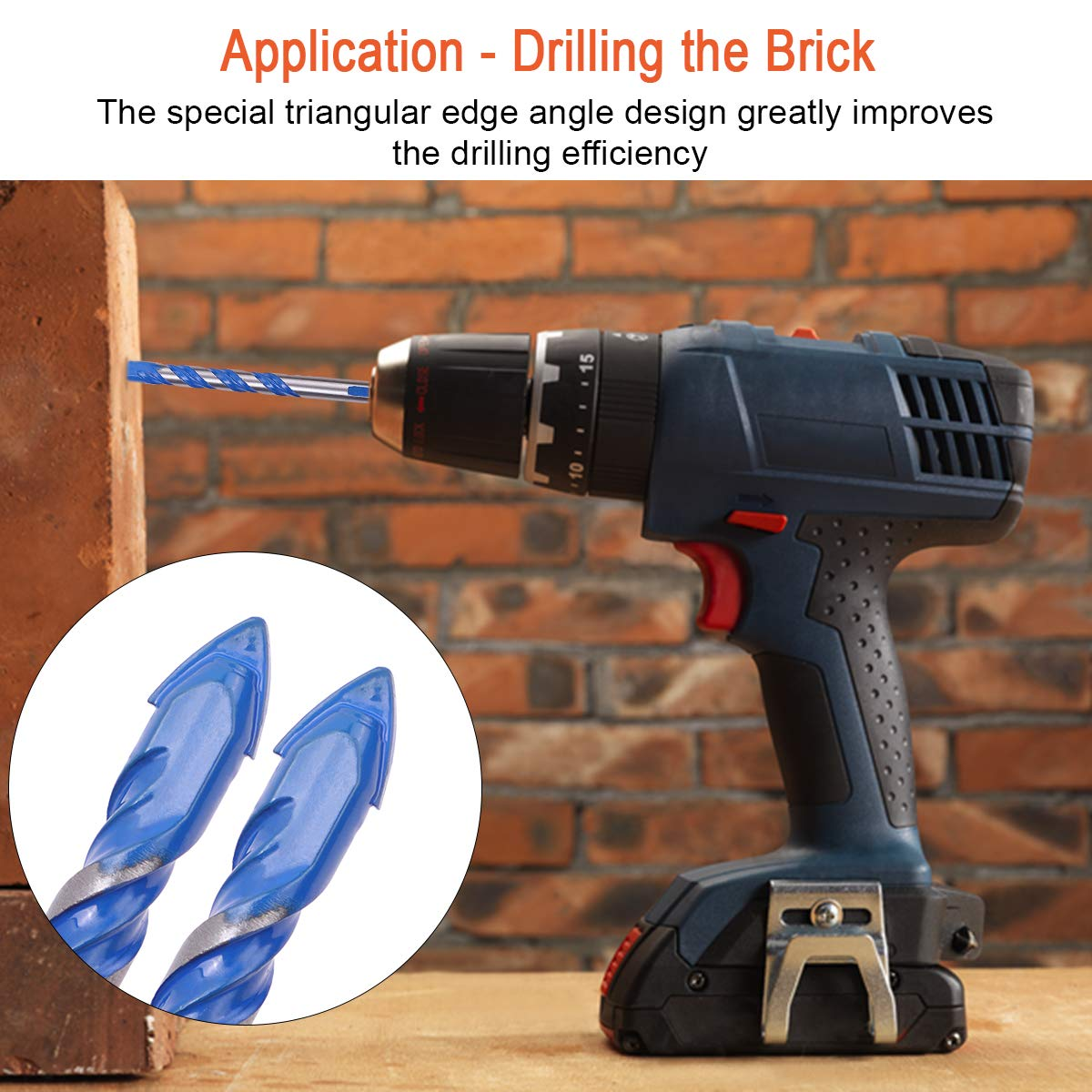 8 10,12mm 6 Multifunctional 5 PCS Masonry Drill Bits Set,Ceramic Tile Drill Bits for/Concrete Plastic Ceramic Tile Glass Cement Brick Wall Mirror and Wood with size 6 Black