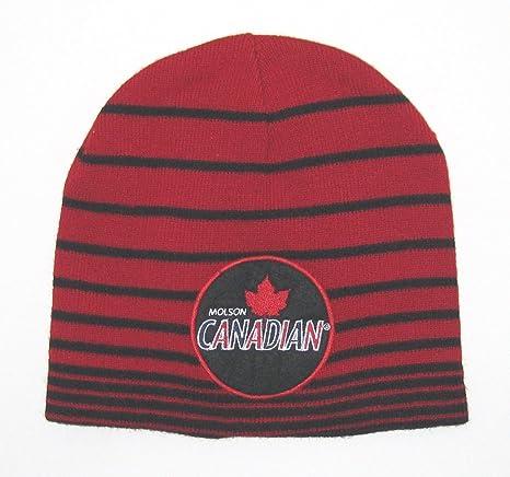 f8437202632 Amazon.com   Molson Canadian Apparel Red   Black Stripe Knit Beanie ...
