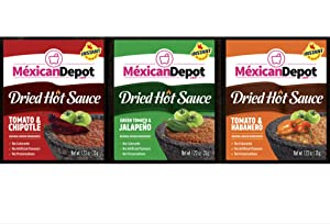 Authentic Hot Dried Sauces,Chipotle and Tomato,Jalapeño and Green Tomato and Habanero and Tomato Dried Hot Sauce, Ingredients from Mexico just add hot water (Pack of 3)