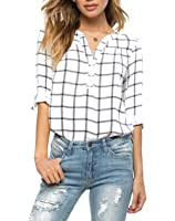 MIXMAX Women V-neck Cuffed Sleeve Loose Casual White Plaids Tunic Shirt Blouses Top