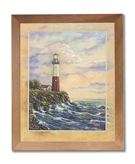 Ocean Lake Beach Lighthouse Wall Picture Art Print