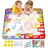 KIZZYEA Water Doodle Mat, Kids Large Aqua Coloring Mat, Mess Free Drawing Mat with Neon Colors, Educational Toy for 3 4 5 6 Y