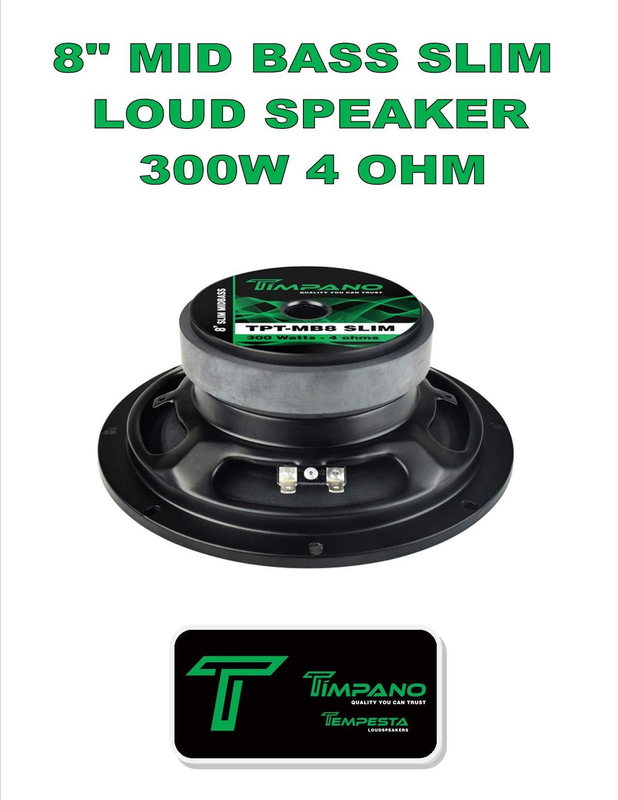 Timpano TPT-MB8 Slim 8'' 4 Ohm 300W Mid Bass Full Range Loudspeaker Single