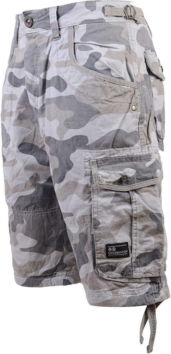 TALLA 30W. Denim Crosshatch Pantalones Cortos Cargo de hombre Vaqueros Combat Jeans de Verano Casual