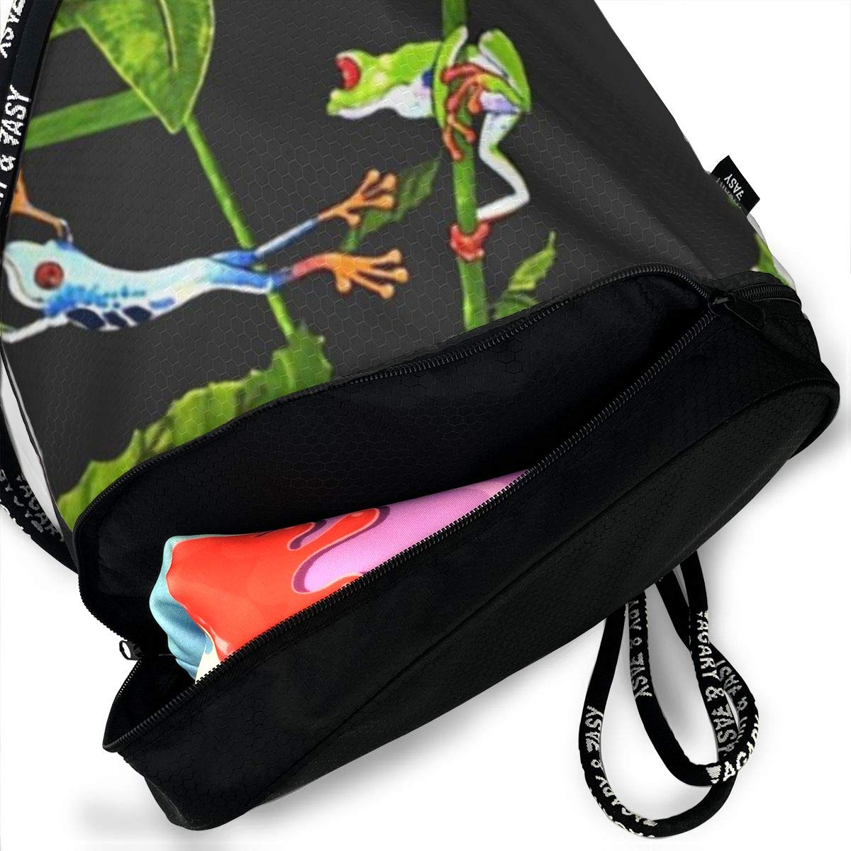 Frog World Cinch Backpack Sackpack Tote Sack Lightweight Waterproof Large Storage Drawstring Bag For Men /& Women