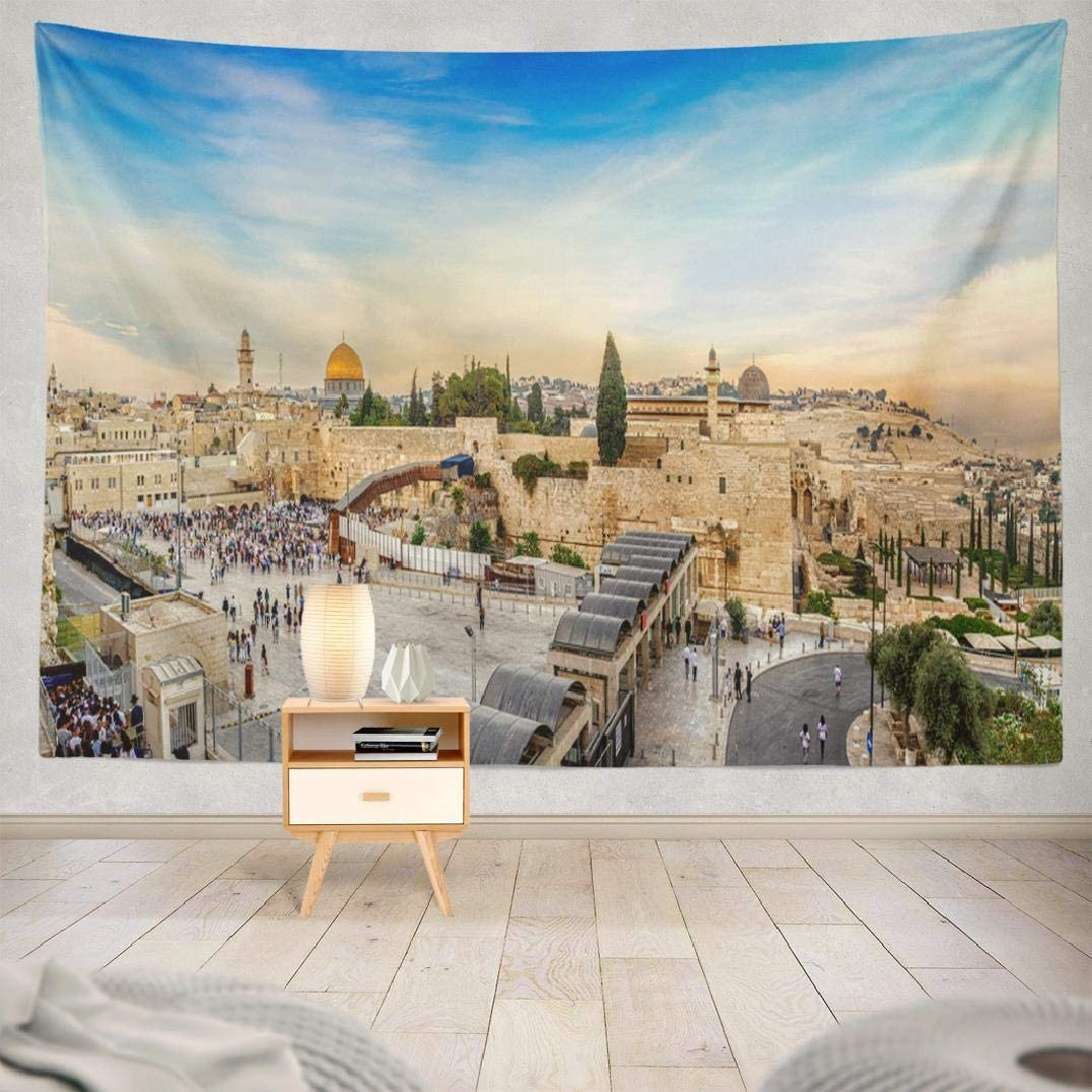 Western Wall Tapestry,Tapestry Wall Hanging September Western Wall and Old City Jerusalem Square Ancient Wall Art for Bedroom Living Room Tablecloth Dorm Decor 80x60 Inches