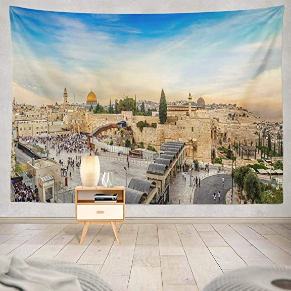Western Wall Tapestry,Tapestry Wall Hanging September Western Wall and Old City Jerusalem Square Ancient Wall Art for Bedroom Living Room Tablecloth Dorm Decor 80×60 Inches