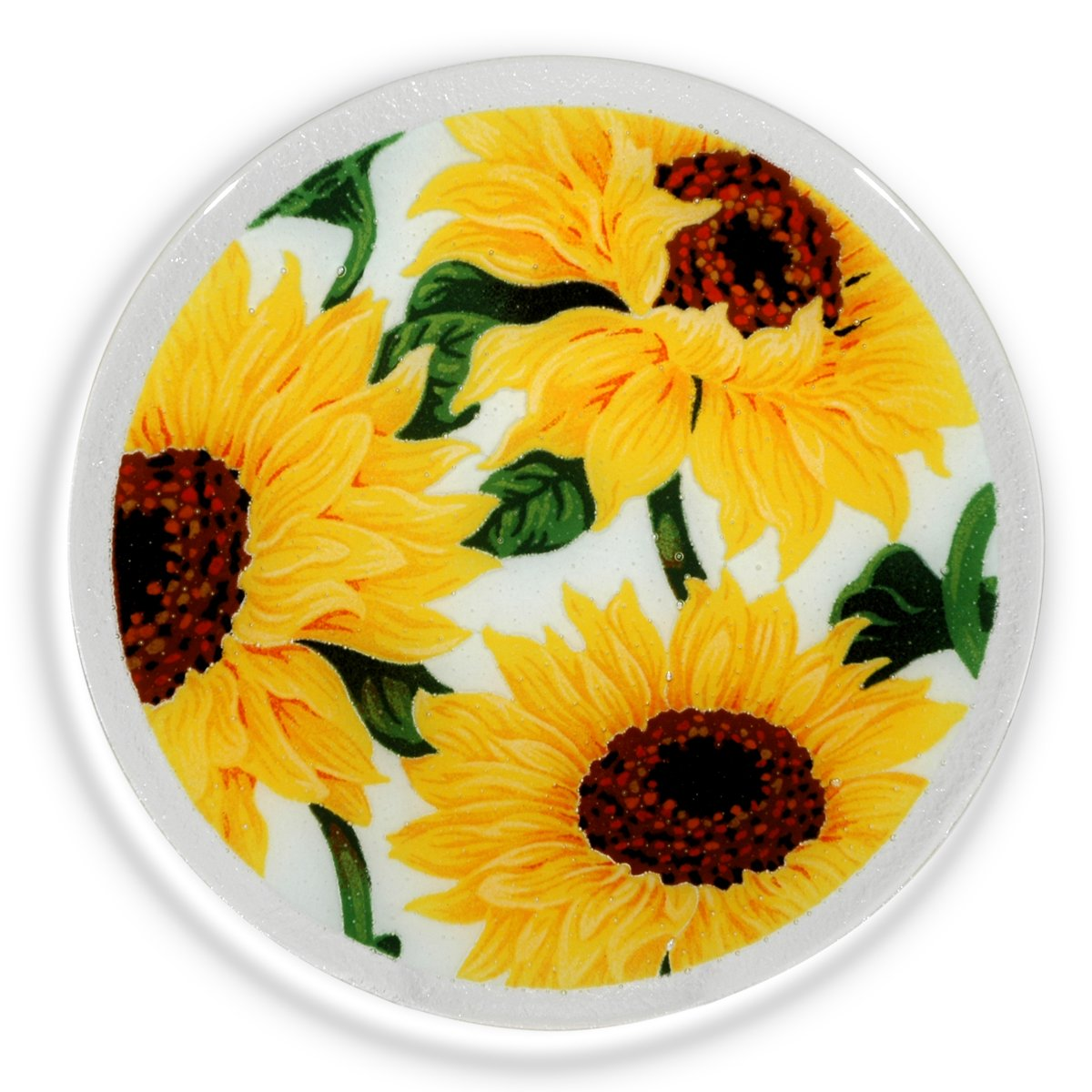 Peggy Karr Glass Handcrafted Art Glass Sunflowers on White 11'' Round Plate, Multicolor Floral Design by Peggy Karr