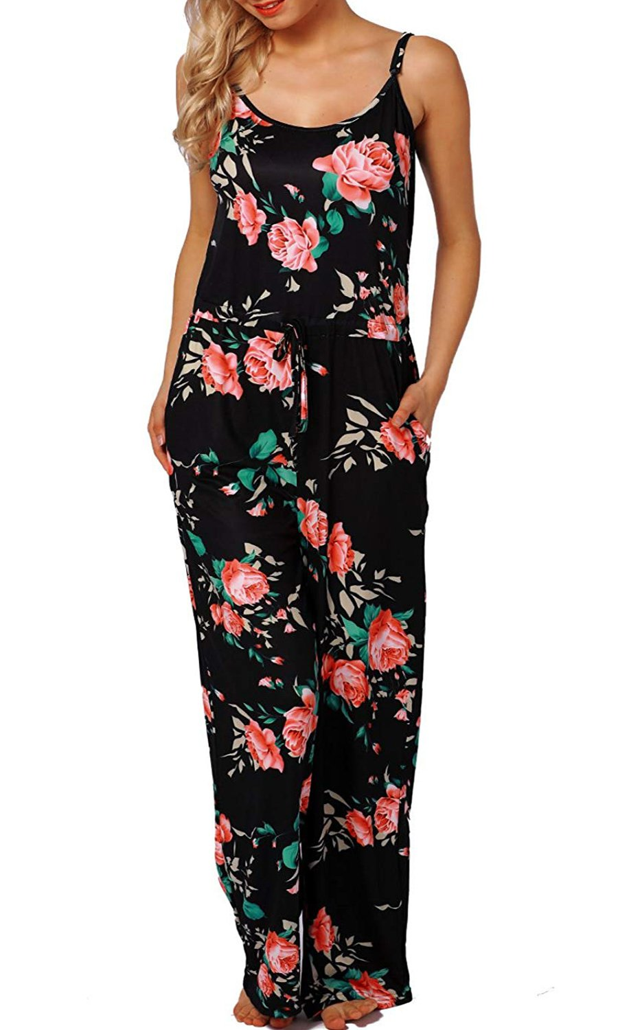 AMiERY Women Rompers Flowers Jumpsuits for Womens Pajamas Wide Leg Long Lounge Pants Rose Halter Sleeveless Jumpsuits (M, Black) by AMiERY