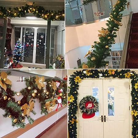 TopHGC Guirnalda de Navidad, 2.7M Chimeneas Escaleras Guirnaldas Decoradas Luces LED Adorno Corona de Navidad para decoración del hogar (Rojo): Amazon.es: Hogar