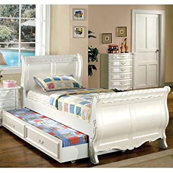 alexandra youth girl sleigh full bed trundle fairy tale princess pearl white