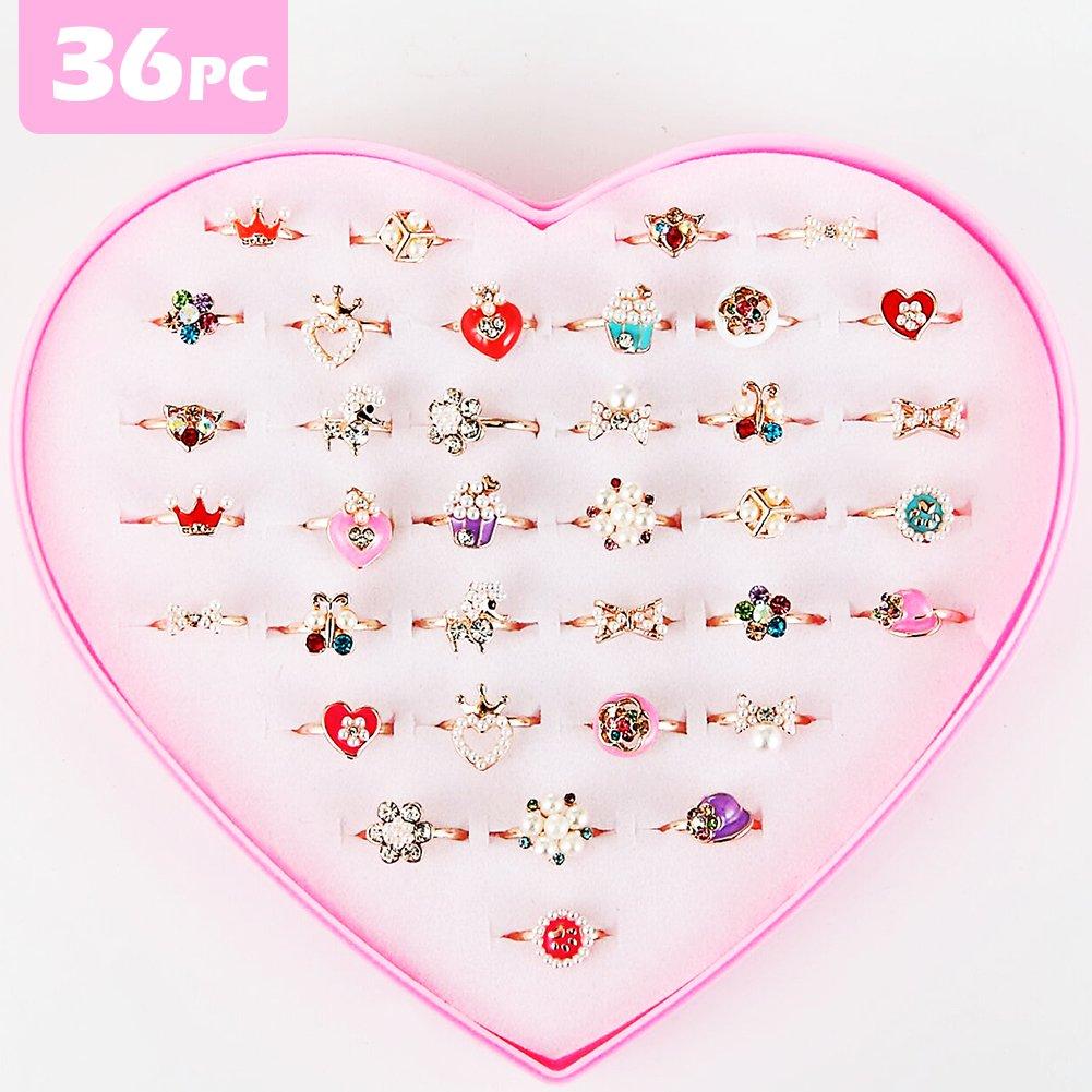 PinkSheep Pearl Rings for Girls , Princess Ring Set, Kids Pretty Rings 36PCS, Adjustable Rings for Toddler Girls