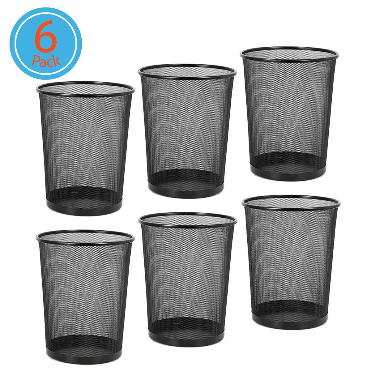 DESIGNA Round Waste Basket, Mesh Office Desk Trash Cans Wire, 4.5 Gal,11-11/16 Diameter x 14-1/16 H Black, 6-PACK