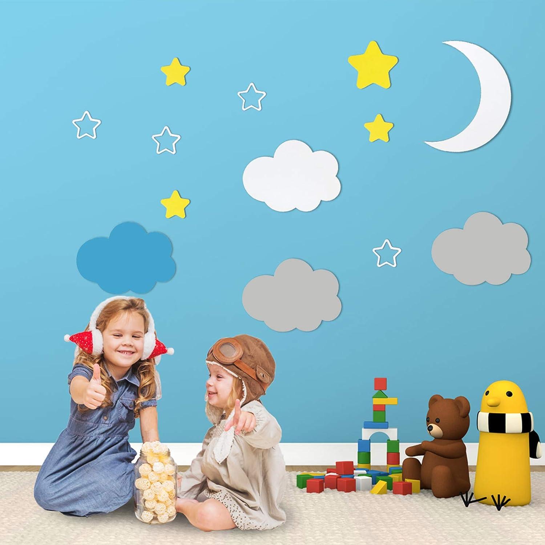 Felt Clouds Stars Wall Decals Stickers for Girls Boys Bedroom Kids Room Home Classroom Halloween Nursery School Wall Decor 3D Art Mural