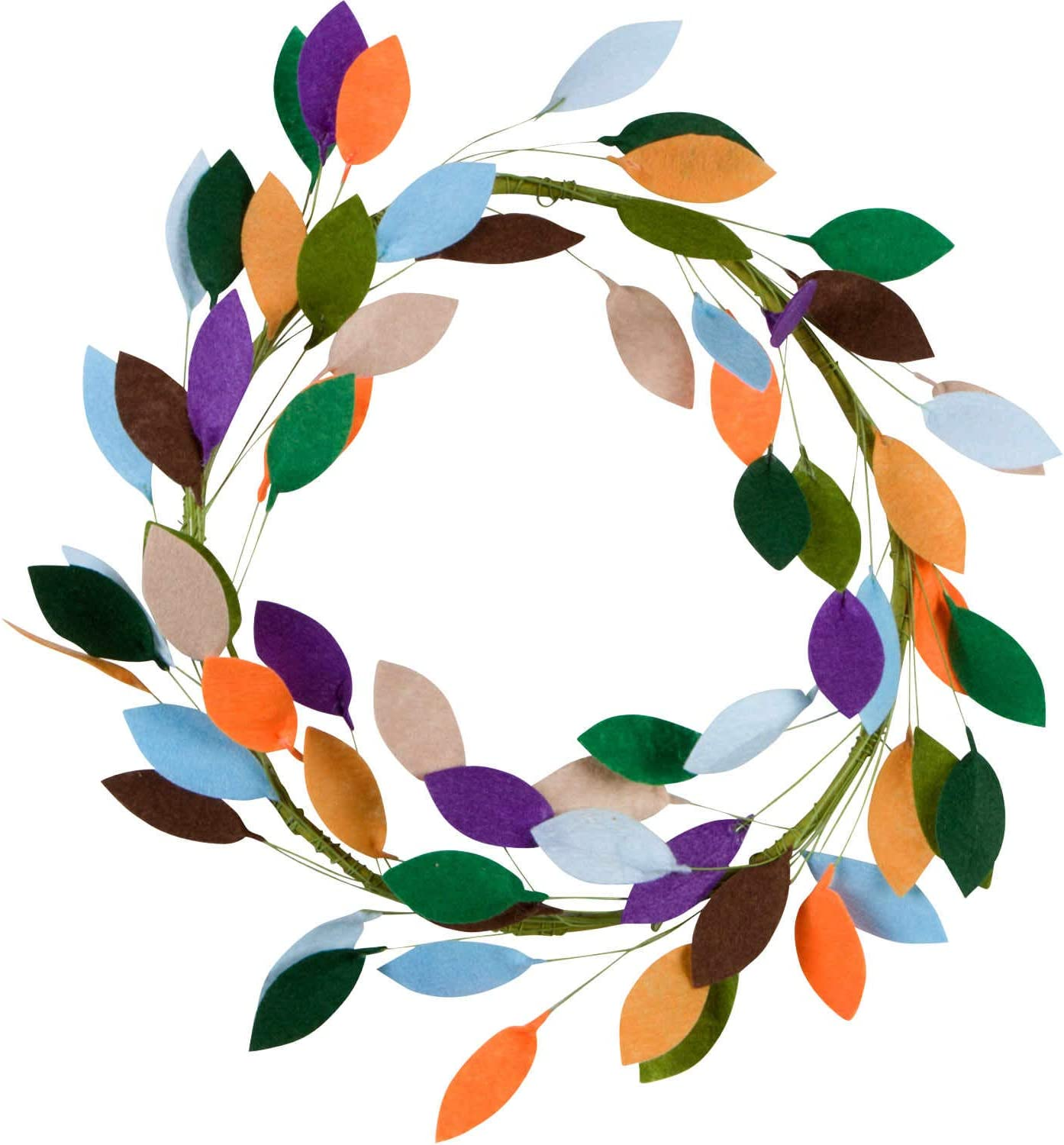 Orchid & Ivy 16-Inch Bright Autumn Colors Felt Leaf Rustic Front Door Fall or Christmas Wreath - Modern Farmhouse Holiday Home Decor for Indoor or Outdoor Walls and Windows