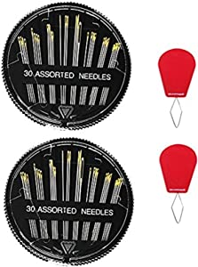 Premium Hand Sewing Needles for Sewing Repair, 60-Count Assorted Needles with 2 Threaders, by Meiho Lives