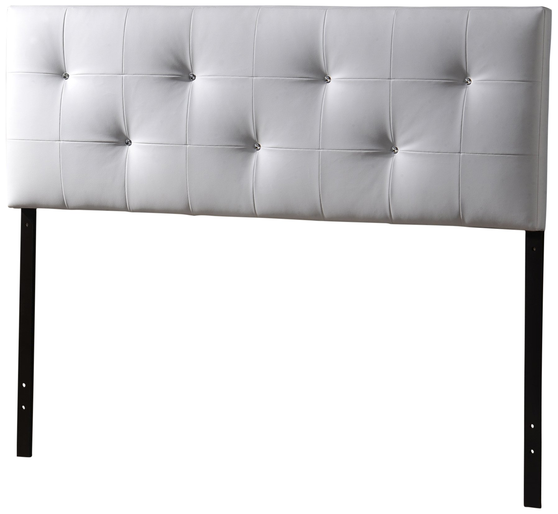 Baxton Studio Wholesale Interiors Dalini Headboard with Faux Crystal Buttons, Queen, White by Baxton Studio