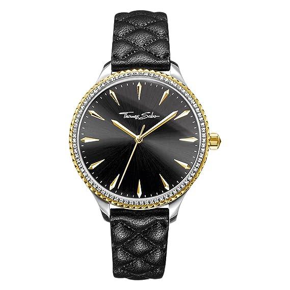 Thomas Sabo Reloj para mujer Rebel at Heart Correa de cuero negro WA0323-221-203-38 mm: Amazon.es: Relojes