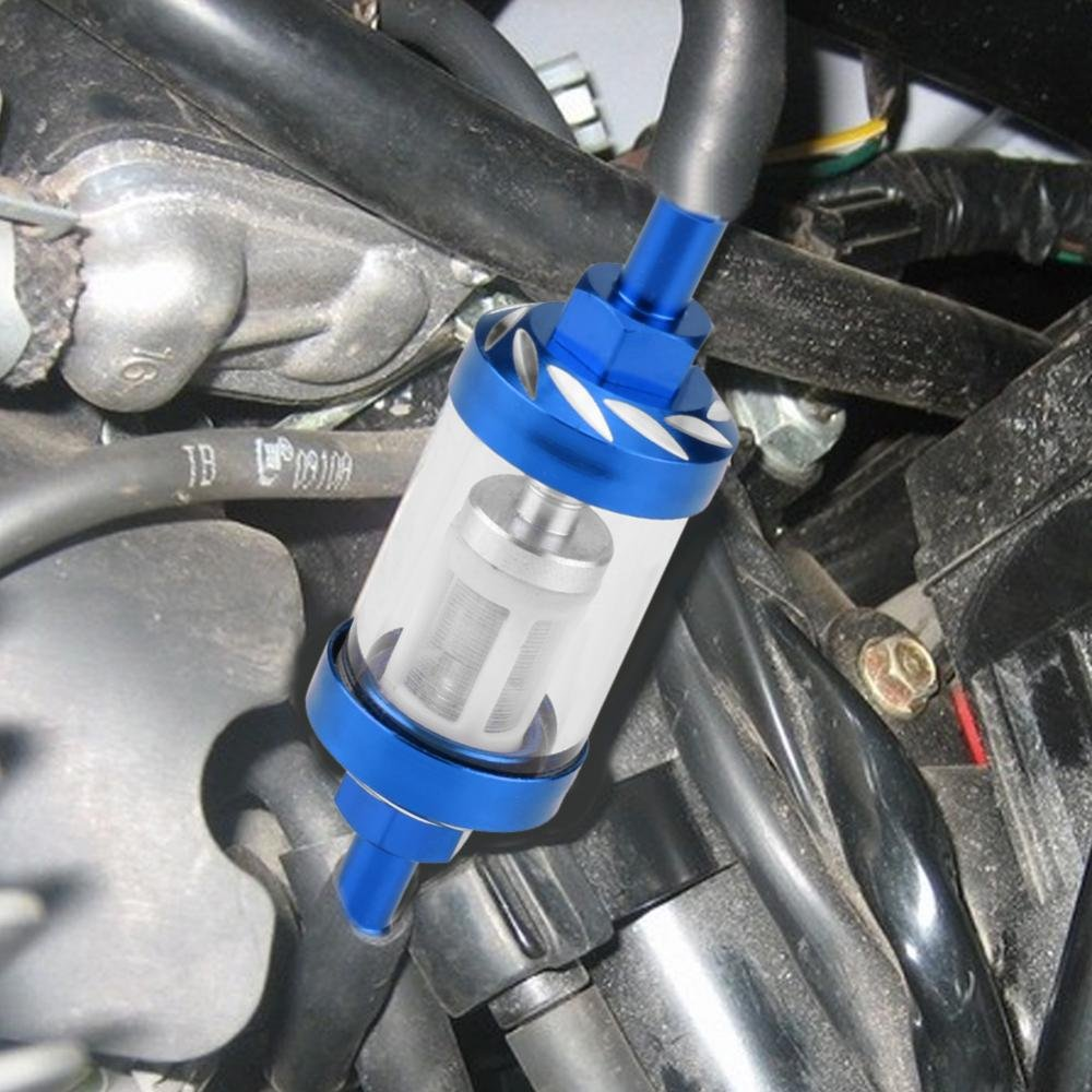 Bleu KIMISS Remplacement de fil de filtre /à essence 8mm en verre de gaz en m/étal pour la moto