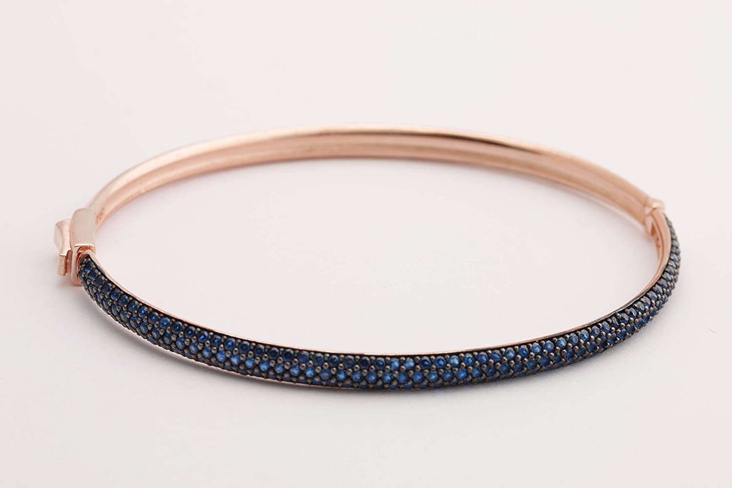 Perfect Design Turkish Handcrafted Jewelry Round Cut Sapphire Zircon Jewelry 925 Sterling Silver Rose Gold Bangle Women Gift Bracelet