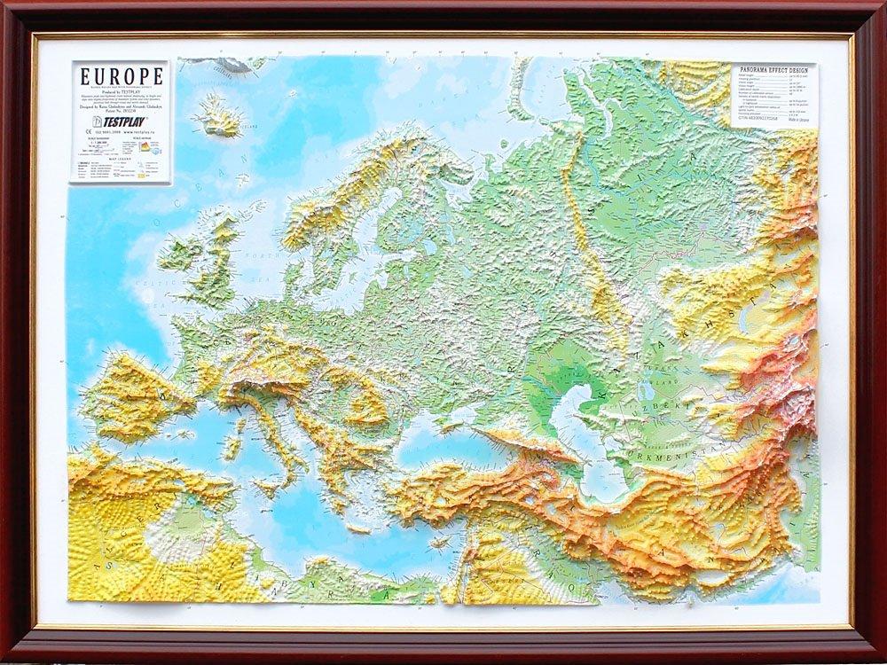 Testplay Reliefkarte Europa 3D   Panorama   Ohne Rahmen