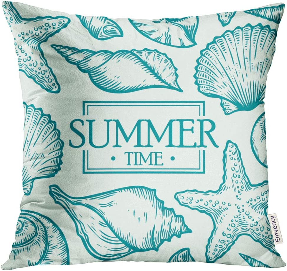 TOMKEYS Throw Pillow Cover Seashell