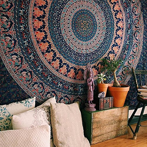 Hippie Mandala Bohemian Psychedelic Intricate Floral Design Indian Bedspread Magical Thinking Tapestry 84x90 Inches,(215x230cms) Neavy blue tarquish