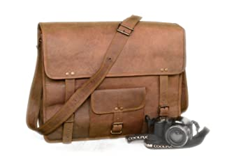 aeea24f8c Image Unavailable. Image not available for. Color: Vintage Leather Bazaar Leather  Messenger Goat Hide Laptop Bag 18 Inch Brown