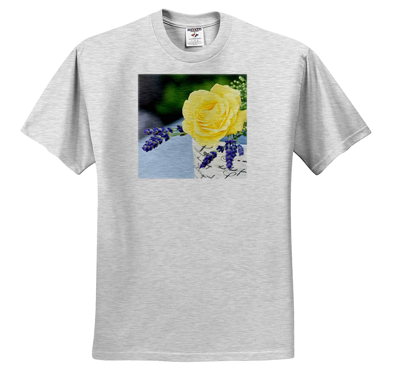 Yellow Rose and Lavender in Antique Jar 3dRose Uta Naumann Photography Stilllife T-Shirts Photography