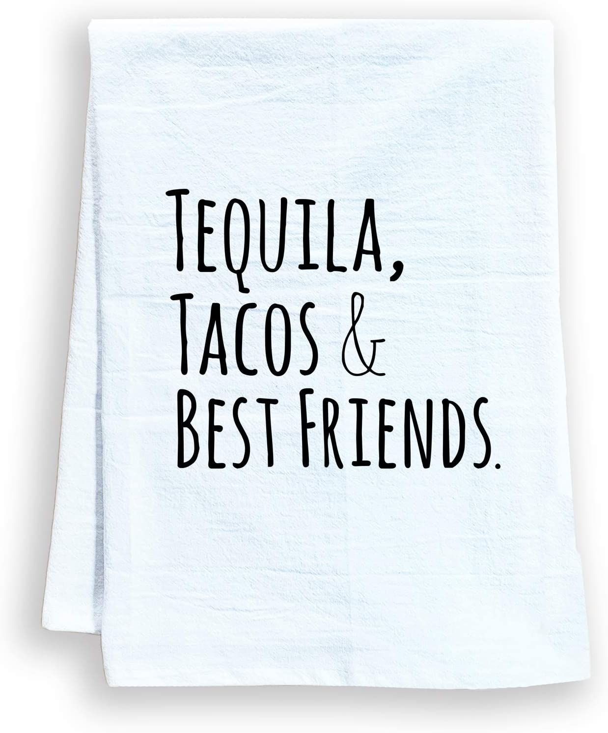 Moonlight Makers Funny Kitchen Towel, Tequila Tacos & Best Friends, Flour Sack Dish Towel, Sweet Housewarming Gift, White