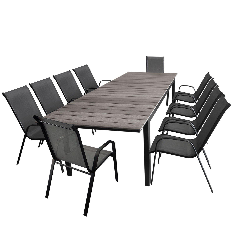 11tlg Gartengarnitur Gartentisch Ausziehbar Polywood Tischplatte